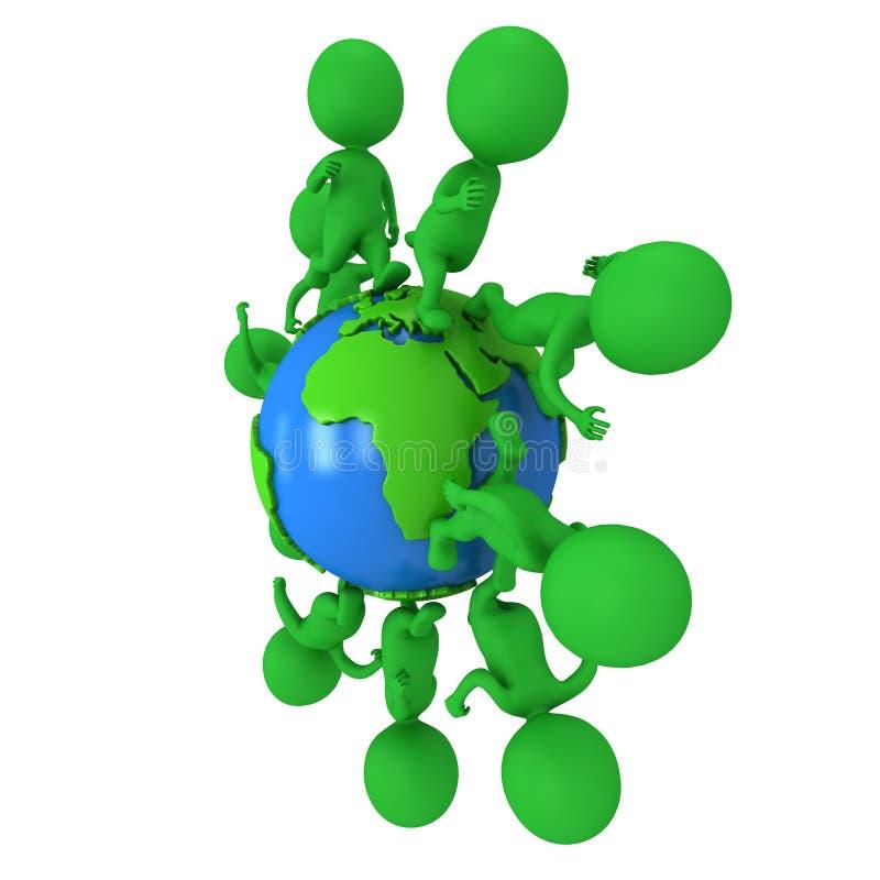 Mali zieleni eco ludzie biega dookoła świata ilustracja wektor