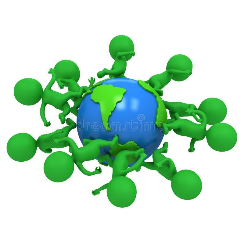 Mali zieleni eco ludzie biega dookoła świata ilustracji