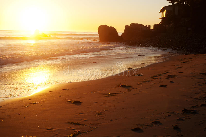 Malibu beach. During sunset and golden hour royalty free stock photos