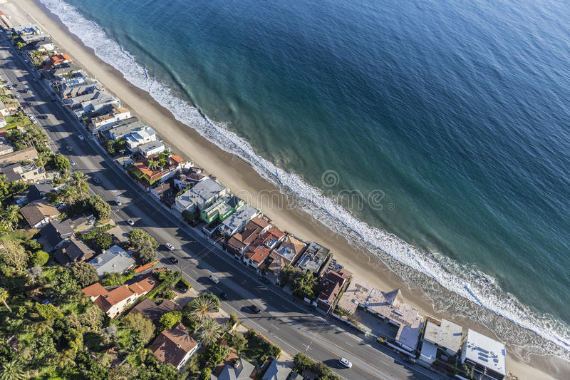 Malibu Beach Homes and Pacific Coast Highway Aerial. Aerial of beach homes along Pacific Coast Highway in Malibu California stock image