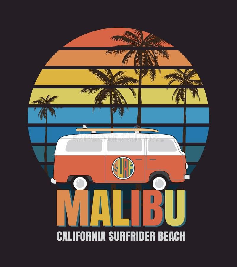 Malibu bränningtypografi, t-skjorta diagram, vektorer stock illustrationer
