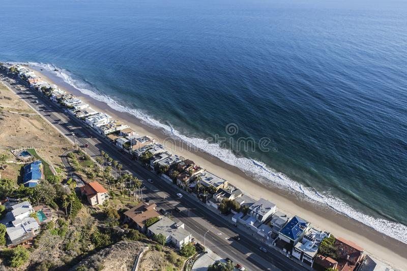 Malibu California Aerial Pacific Coast Highway. Aerial view of beaches and homes along Pacific Coast Highway north of Santa Monica and Los Angeles in scenic royalty free stock image