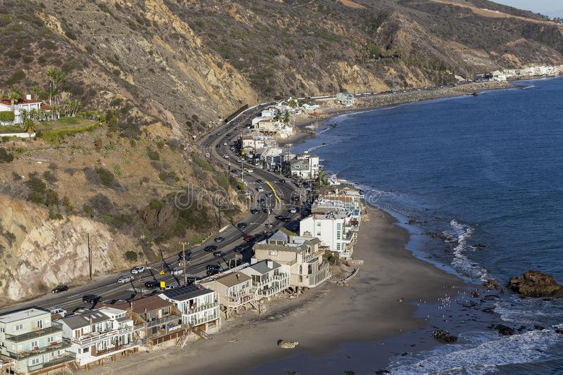 Malibu California Pacific Coast Highway Curves Aerial. Aerial of beach homes along curving section of Pacific Coast Highway near Los Angeles and Malibu in royalty free stock photography