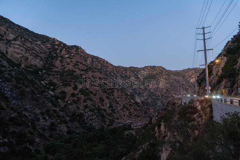 Beautiful Malibu Canyon vista at dusk. Malibu Canyon vista at dusk, Southern California stock photography