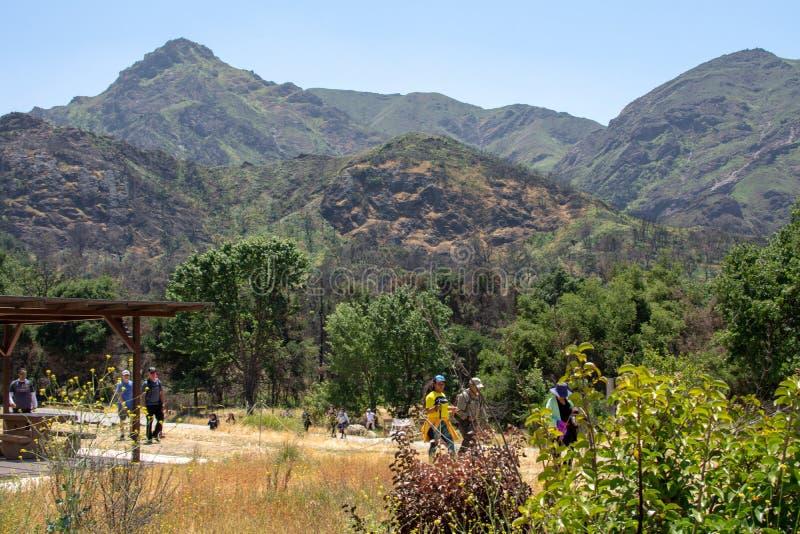 Malibu Creek State Park, CA United States -  May 5, 2019: Tourists and hikers at Malibu Creek State Park in Spring, 2019. Malibu Creek State Park, CA United royalty free stock photography