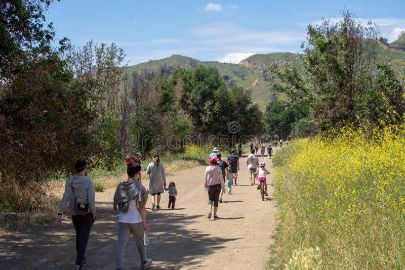 Malibu Creek State Park, CA United States -  May 5, 2019: Tourists and hikers at Malibu Creek State Park in Spring, 2019. Malibu Creek State Park, CA United royalty free stock photos