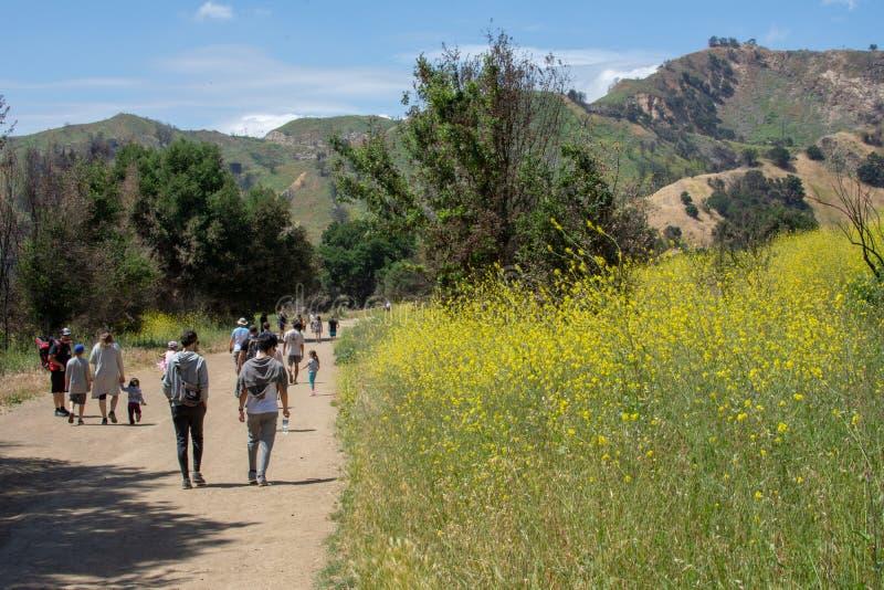 Malibu Creek State Park, CA United States -  May 5, 2019: Tourists and hikers at Malibu Creek State Park in Spring, 2019. Malibu Creek State Park, CA United stock photography