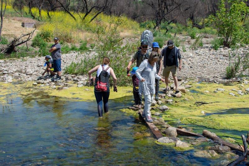 Malibu Creek State Park, CA United States -  May 5, 2019: Tourists and hikers at Malibu Creek State Park in Spring, 2019. Malibu Creek State Park, CA United royalty free stock images