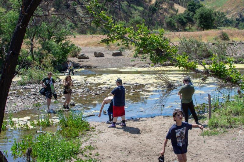 Malibu Creek State Park, CA United States -  May 5, 2019: Tourists and hikers at Malibu Creek State Park in Spring, 2019. Malibu Creek State Park, CA United stock images