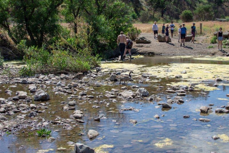Malibu Creek State Park, CA United States -  May 5, 2019: Tourists and hikers at Malibu Creek State Park in Spring, 2019. Malibu Creek State Park, CA United royalty free stock photo
