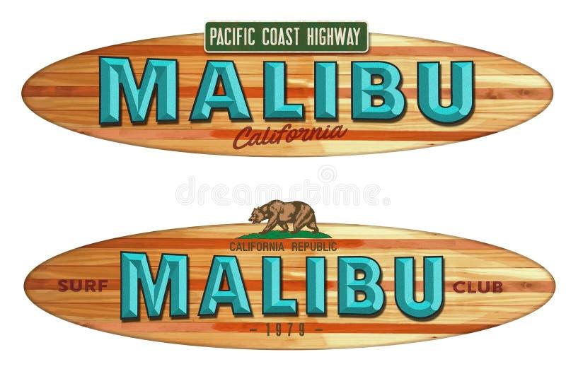 Malibu plaży Kalifornia surfboard znak royalty ilustracja