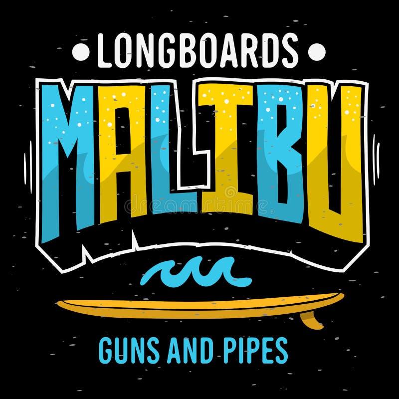 Malibu que surfa surfa gráficos temáticos para a imagem do vetor do projeto do inseto da camisa dos anúncios t da promoção ou do  ilustração stock