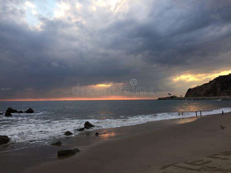 Malibu solnedgång arkivfoton