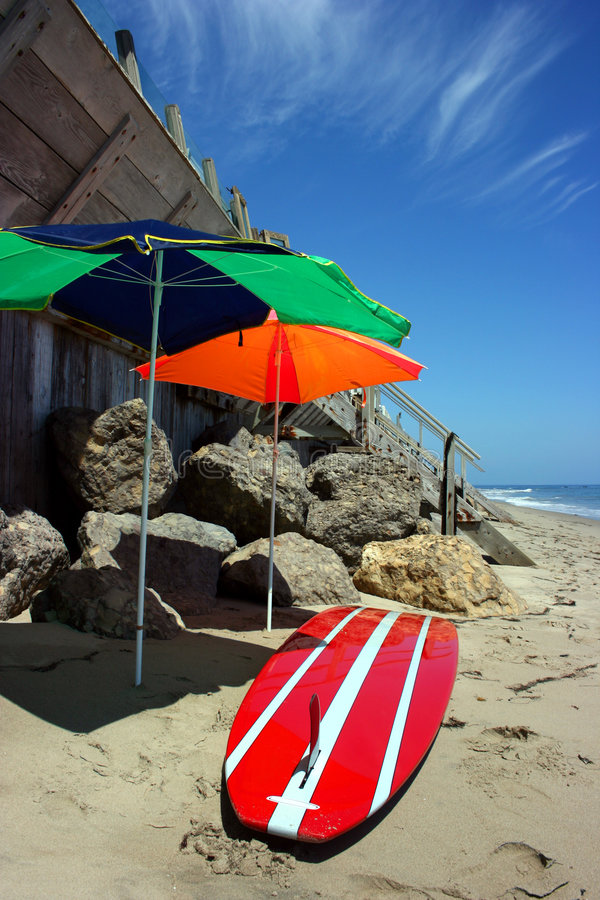 In Malibu strand, Californië stock afbeelding
