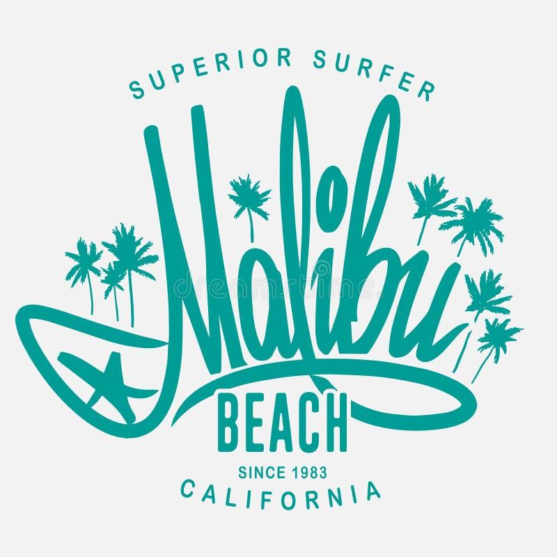 Malibu surf typography, vector t-shirt print design.  royalty free illustration