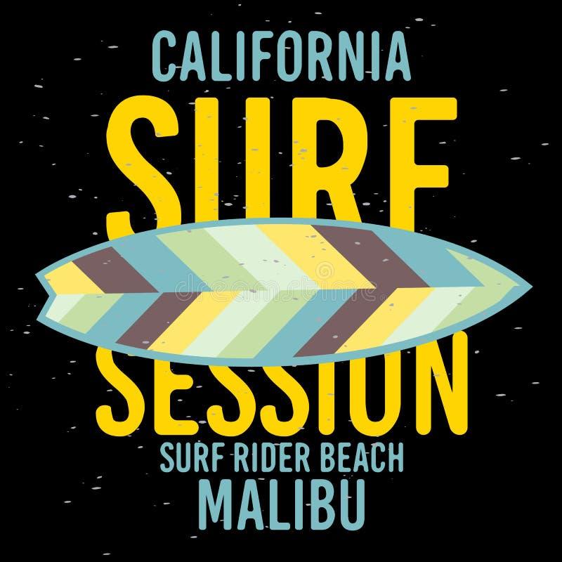 Malibu surfa a etiqueta do sinal de Rider Beach California Surfing Surf para o inseto Desig da camisa dos anúncios t da promoção  ilustração do vetor