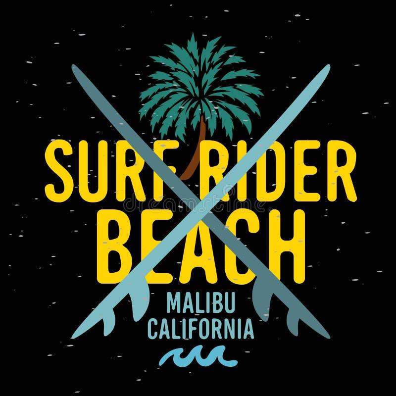 Malibu surfa a etiqueta do sinal de Rider Beach California Surfing Surf para o inseto Desig da camisa dos anúncios t da promoção  ilustração royalty free