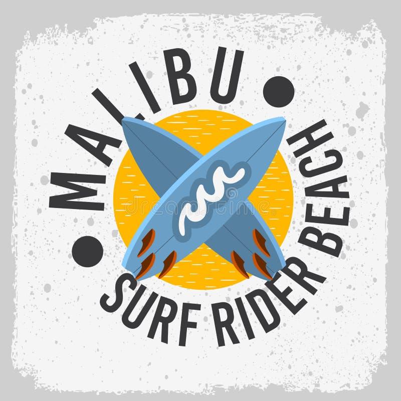 Malibu surfa o projeto de Rider Beach California Surfing Surf com prancha Logo Sign Label de A para a camisa o dos anúncios t da  ilustração stock