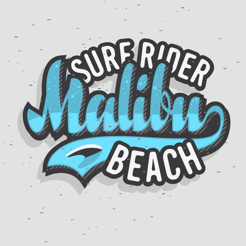 Malibu surfa o projeto Logo Sign Label de Rider Beach California Surfing Surf para a camisa dos anúncios t da promoção ou o carta ilustração stock
