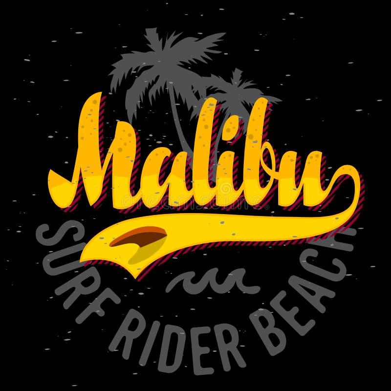 Malibu surfa o projeto Logo Sign Label de Rider Beach California Surfing Surf para a camisa dos anúncios t da promoção ou o carta ilustração do vetor