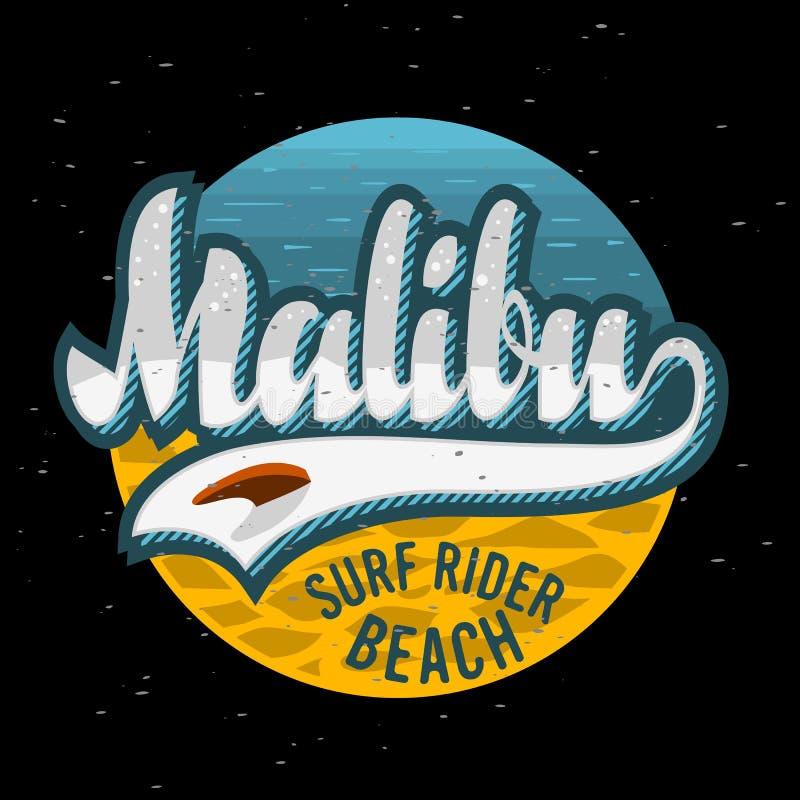Malibu surfa o projeto Logo Sign Label de Rider Beach California Surfing Surf para a camisa dos anúncios t da promoção ou o carta ilustração royalty free
