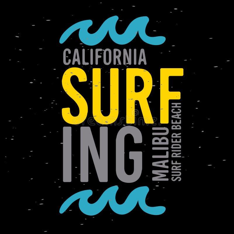 Malibu surfa o tipo tipográfico etiqueta de Rider Beach California Surfing Surf do sinal do projeto para a camisa ou a vara dos a ilustração royalty free