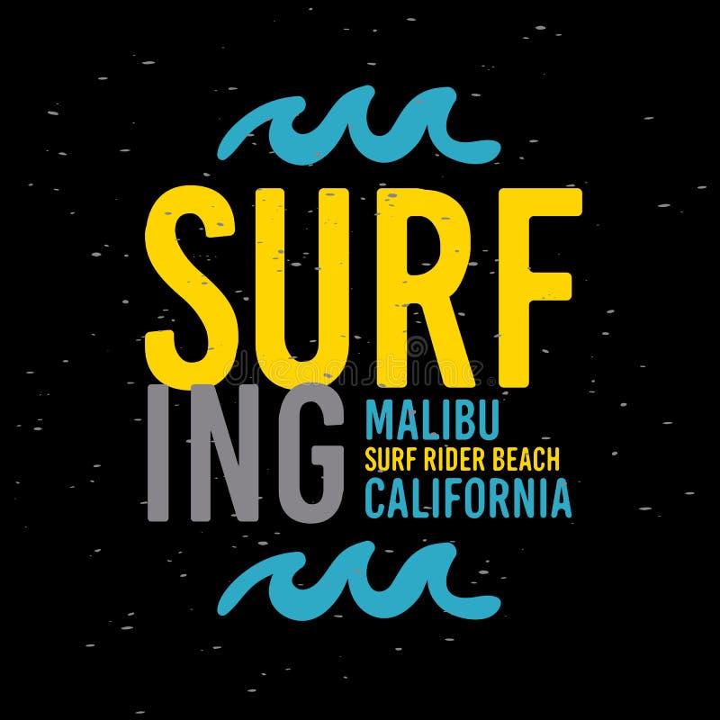 Malibu surfa o tipo tipográfico etiqueta de Rider Beach California Surfing Surf do sinal do projeto para a camisa ou a vara dos a ilustração stock