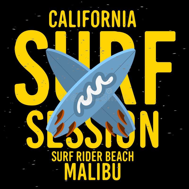 Malibu surfen typografische Art Entwurfs-Zeichen-Aufkleber Rider Beach California Surfing Surfs für Förderungs-Anzeigen T-Shirt o vektor abbildung