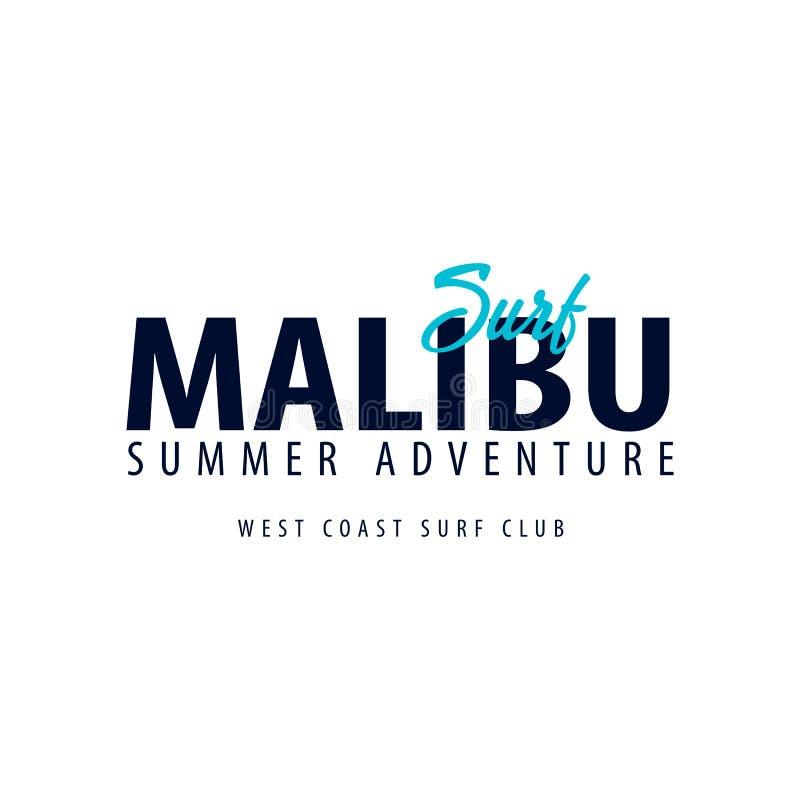 Malibu surfingu logo lub emblemat również zwrócić corel ilustracji wektora zdjęcie stock