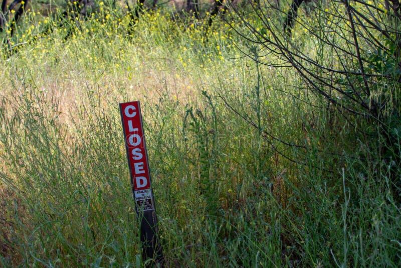 Malibu zatoczki stanu park - Maj 11, 2019: Znaki ochraniaj? odzyskuje ro?liny Malibu zatoczki stanu park w wio?nie i drzewa fotografia stock