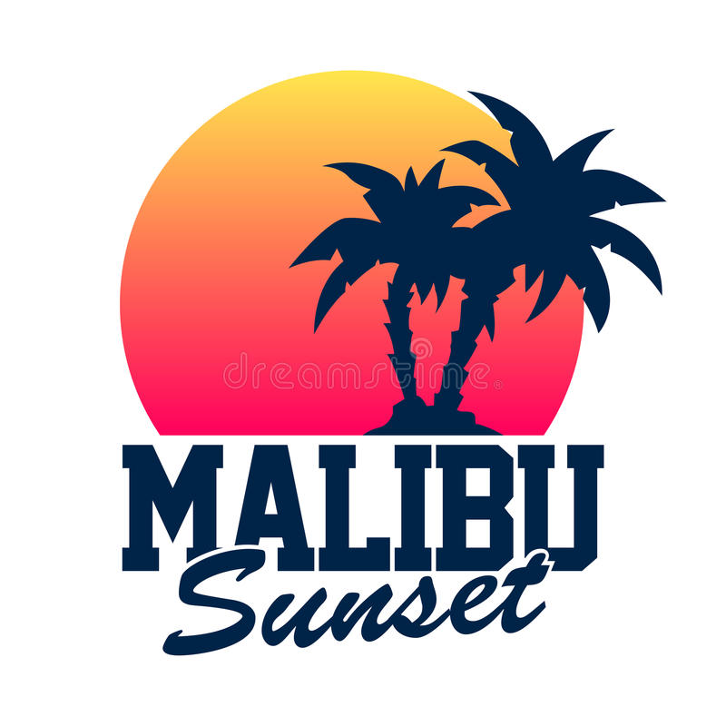 Malibuzonsondergang vector illustratie