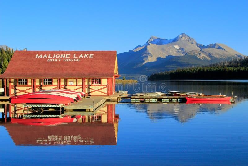 Maligne湖在贾斯珀国家公园,亚伯大,加拿大 免版税库存照片