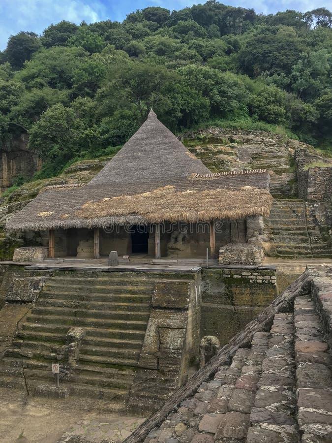 Malinalco考古学区域 免版税库存照片