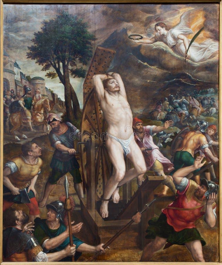Malines - il martirio di San Giorgio. Pannello principale del trittico da Michiel van Coxie (1588) nella cattedrale della st Rumbo fotografie stock