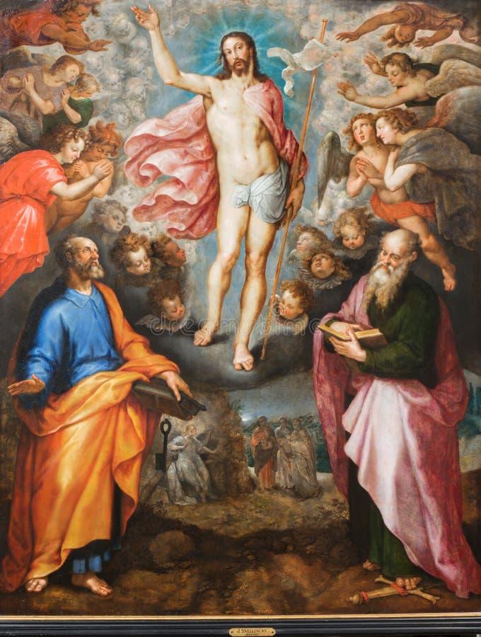 Malines - pittura della resurrezione di Cristo da J. Snellinckx (1544 - 1588) nella cattedrale della st Rumbold fotografia stock libera da diritti