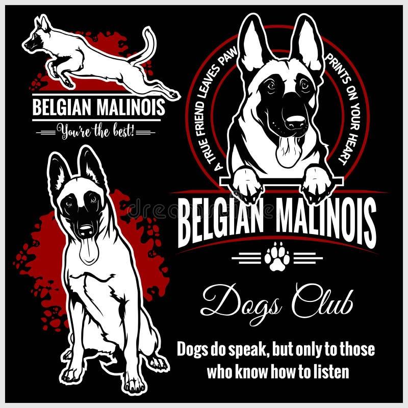 Malinois, belga Malinois, pastor belga Dog - grupo do vetor para crachás do t-shirt, do logotipo e do molde ilustração do vetor