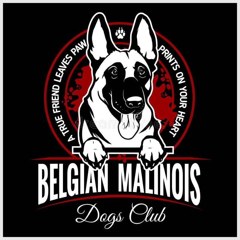 Malinois belgare Malinois, belgisk herde Dog - vektorillustration för t-skjorta, logo- och mallemblem stock illustrationer