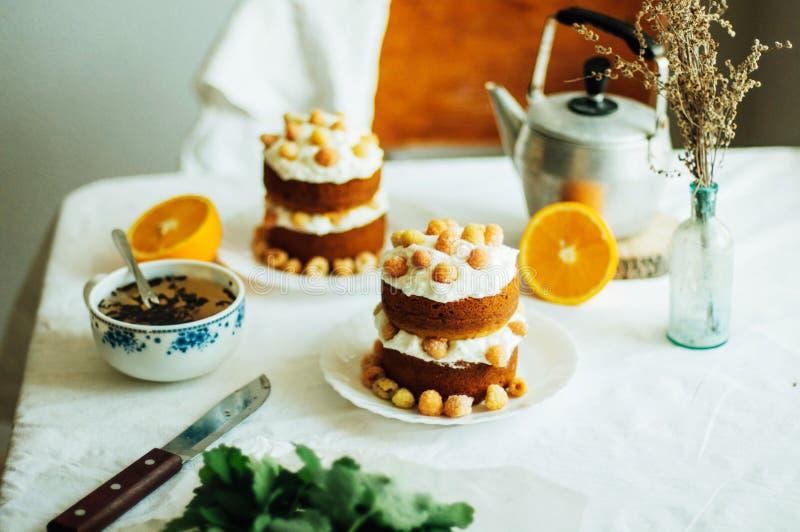 Malinowa babeczka Zbliżenie kremowy tort zakrywający z raspberr fotografia stock