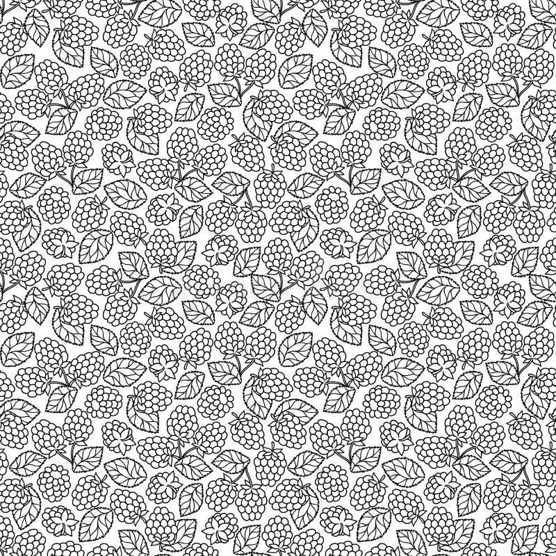 Malinowa czernica z liścia bezszwowy pettern royalty ilustracja