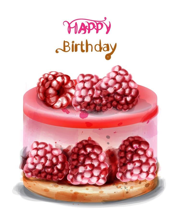 Malinowa urodzinowego torta wektoru akwarela Wszystkiego najlepszego z okazji urodzin wyśmienicie karty royalty ilustracja