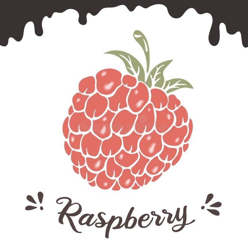 Malinowa wektorowa ilustracja, jagodowy clipart Malinowego rocznika wektorowa ilustracja dla logo, projekt Rocznik malinka ilustracja wektor