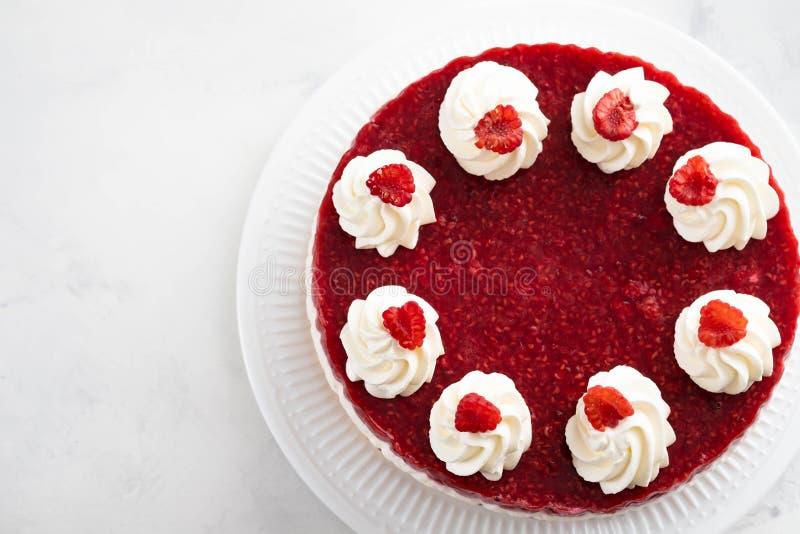 Malinowy kremowy mousse tort żadny piec cheesecake na białym tle kosmos kopii zdjęcie stock