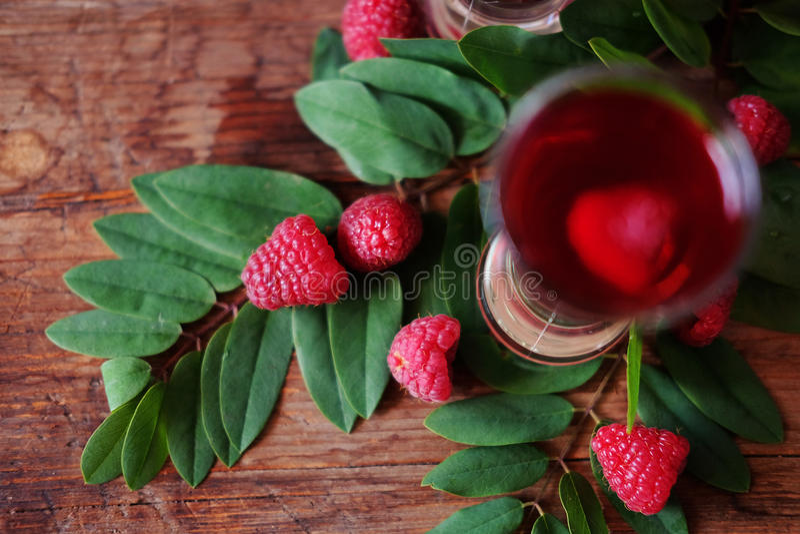 Malinowy owocowy ajerkoniak w dwa strzałów szkłach z jagodami i gre fotografia royalty free