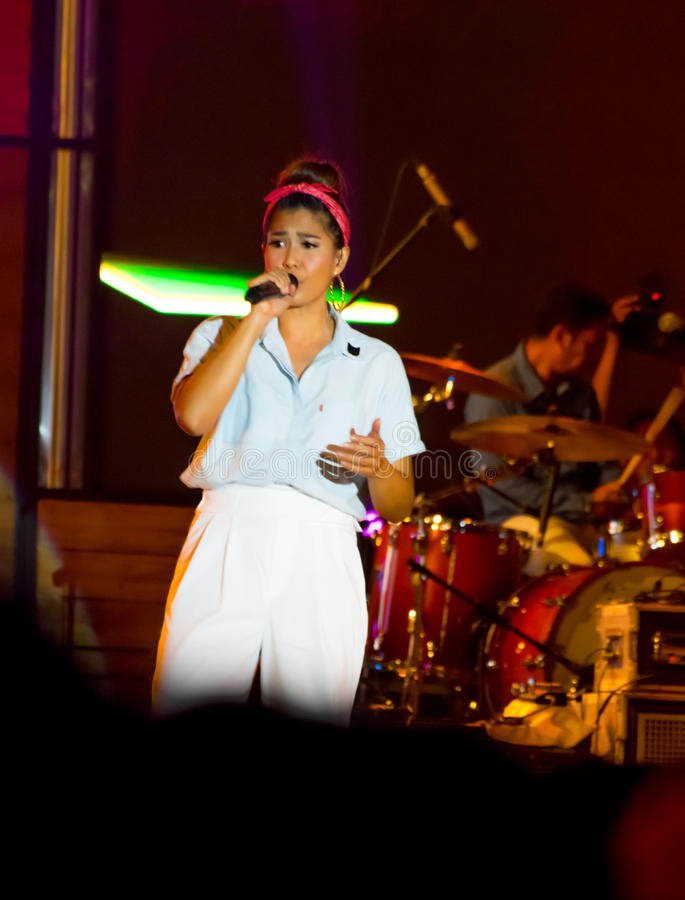 Maliq & D`Essentials Band - Staring at the audience. Rivani Indriya Suwendi, vocalists band from Maliq & D`Essentials performed onstage during the Soundrenaline stock image