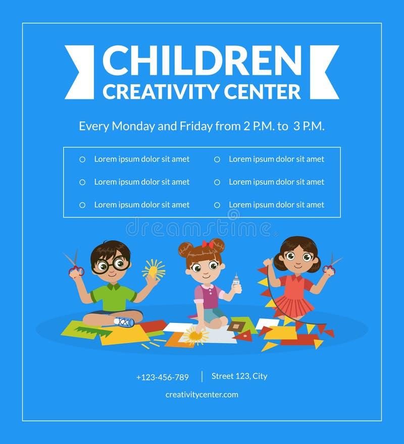 Mall, Art School eller grupp för baner för barnkreativitetmitt för unge-, barns utveckling- och utbildningsvektor royaltyfri illustrationer