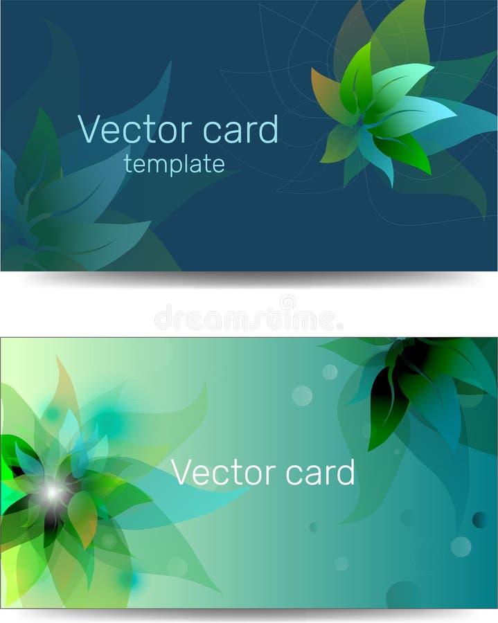 Mall av affärskort i blå och grön färg med en designbeståndsdel Textram Beståndsdelar för rengöringsdukdesign vektor illustrationer