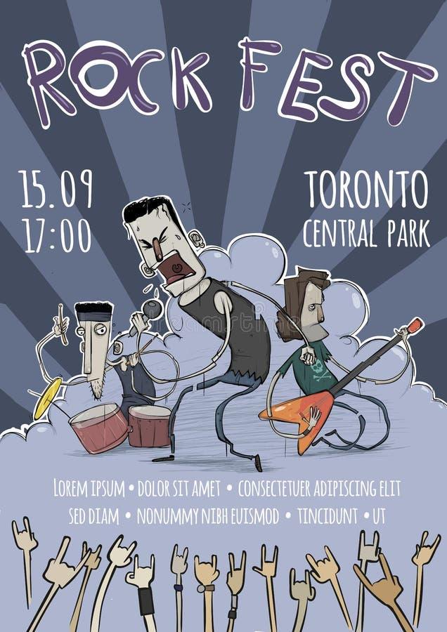 Mall av affischen för vaggafestivalen Gitarrist-, handelsresande- och sångaretecken Skurkrollen vaggar musikmusikbandet vektor royaltyfri illustrationer