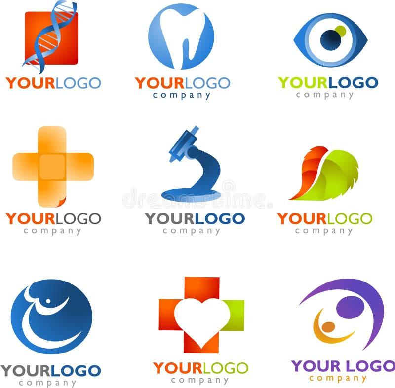 Mall av den medicinska logoen vektor illustrationer