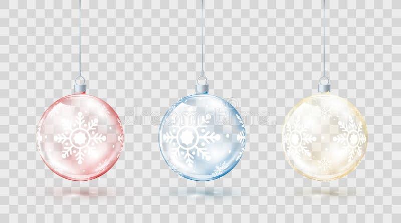 Mall av glass genomskinliga julbollar Beståndsdeljulgarneringar Skinande färgrikt leker med guld- rött och blått glöd stock illustrationer