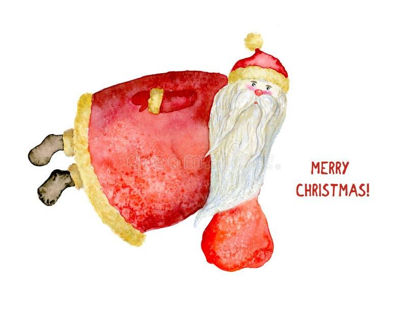 Mall av julkortet med vattenfärgjultomten royaltyfri illustrationer